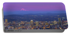 Portland Oregon Cityscape At Dusk Portable Battery Charger