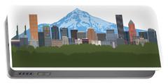 Portland Oregon Skyline Color Illustration Portable Battery Charger