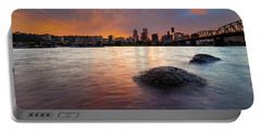 Portland Skyline Along Willamette River At Sunset Portable Battery Charger