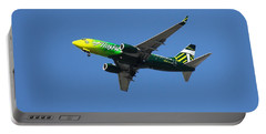 Portable Battery Charger featuring the photograph Portland Timbers - Alaska Airlines N607as by Aaron Berg