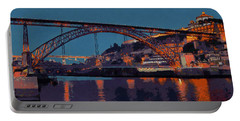 Portable Battery Charger featuring the photograph Porto River Douro And Bridge In The Evening Light by Menega Sabidussi