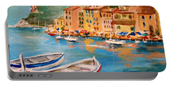 Portable Battery Charger featuring the painting Portofino II by Alan Lakin