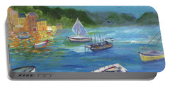 Portable Battery Charger featuring the painting Portofino, Italy by Jamie Frier