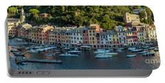 Portable Battery Charger featuring the photograph Portofino Morning Panoramic II by Brian Jannsen