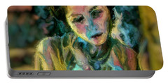 Portrait Colorful Female Wistfully Thoughtful Pastel Portable Battery Charger by MendyZ