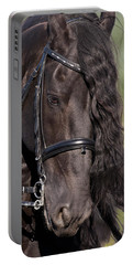 Portrait Of A Friesian Portable Battery Charger by Wes and Dotty Weber