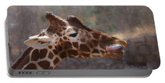 Portable Battery Charger featuring the digital art Portrait Of A Giraffe by Ernie Echols