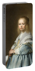 Portrait Of A Girl Dressed In Blue By J. Cornelisz Portable Battery Charger