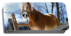 Portrait Of A Haflinger - Niko In Winter Portable Battery Charger by Angela Rath