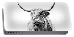 Portrait Of A Highland Cow Portable Battery Charger