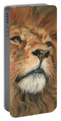 Portrait Of A Lion Portable Battery Charger by David Stribbling