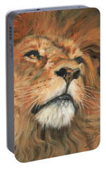 Portable Battery Charger featuring the painting Portrait Of A Lion by David Stribbling