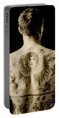 Portrait Of A Man With An Elaborate Back Piece Tattoo Portable Battery Charger