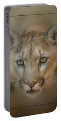 Portrait Of A Mountain Lion Portable Battery Charger