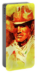 Portrait Of A Nostalgic Cowhand Portable Battery Charger