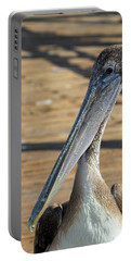 Portrait Of A Pelican On The Pier Portable Battery Charger