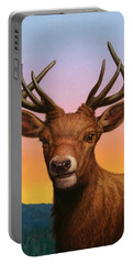 Portrait Of A Red Deer Portable Battery Charger