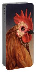 Portrait Of A Rooster Portable Battery Charger by James W Johnson
