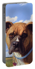 Portable Battery Charger featuring the painting Portrait Of A Sweet Boxer by James W Johnson