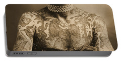 Portrait Of A Tattooed Woman Portable Battery Charger