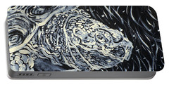Portable Battery Charger featuring the painting Portrait Of A Turtle by Fabrizio Cassetta