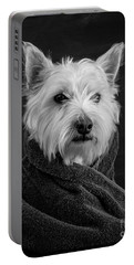 Portrait Of A Westie Dog Portable Battery Charger by Edward Fielding