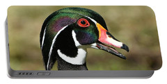 Portrait Of A Wood Duck Portable Battery Charger