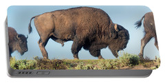 Portrait Of A Yellowstone Bison Portable Battery Charger