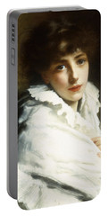 Portrait Of A Young Girl In White Portable Battery Charger