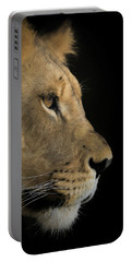 Portable Battery Charger featuring the digital art Portrait Of A Young Lion by Ernie Echols