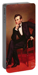 Portrait Of Abraham Lincoln Portable Battery Charger by George Peter Alexander Healy