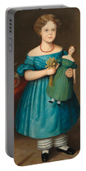 Portrait Of Amy Philpot In A Blue Dress With Doll And Goldfish Portable Battery Charger