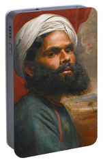 Portable Battery Charger featuring the painting Portrait Of An Indian Sardar by Edwin Frederick Holt