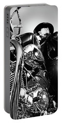 Portrait Of Biker Man Sitting On Motorcycle - Black And White Portable Battery Charger
