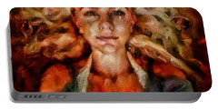 Portrait Of Female With Hair Billowing Everywhere In Radiant Unsmiling Sharp Features Golden Warm Colors And Upturned Nose Curls And Aliens Of The Departure Portable Battery Charger by MendyZ