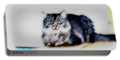 Portrait Of Maine Coon, Mattie Portable Battery Charger