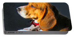 Portrait Of Pebbles - The Independent Beagle Portable Battery Charger