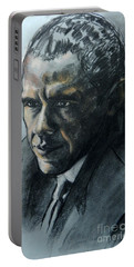 Charcoal Portrait Of President Obama Portable Battery Charger
