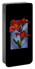 Portrait Of Red Lily Flowers Portable Battery Charger