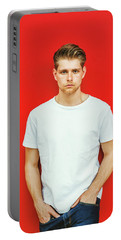 Portrait Of Young Handsome Man Portable Battery Charger