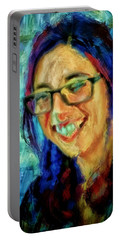Portrait Painting In Acrylic Paint Of A Young Fresh Girl With Colorful Hair In A Library With Books  Portable Battery Charger by MendyZ