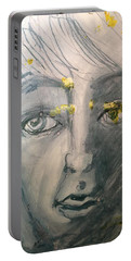 Portrait With Yellow Portable Battery Charger