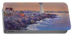 Portsmouth Lighthouse Sunset Peaceful  Coastal Painting Portable Battery Charger