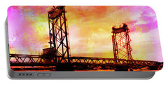 Portsmouth Memorial Bridge Abstract At Sunset Portable Battery Charger