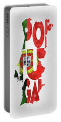 Portugal Typographic Map Flag Portable Battery Charger