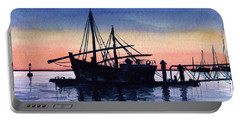 Portable Battery Charger featuring the painting Portuguese Fishing Boat by Dora Hathazi Mendes