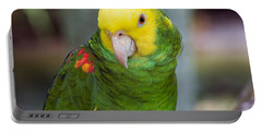 Posing Parrot Portable Battery Charger by Kenneth Albin