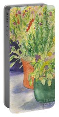 Portable Battery Charger featuring the painting Potted Beauties  by Vicki  Housel