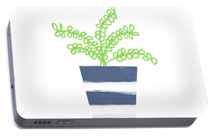 Portable Battery Charger featuring the mixed media Potted Plant 1- Art By Linda Woods by Linda Woods