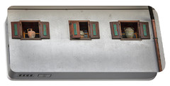 Portable Battery Charger featuring the photograph Pottery In The Windows - Slovenia by Stuart Litoff